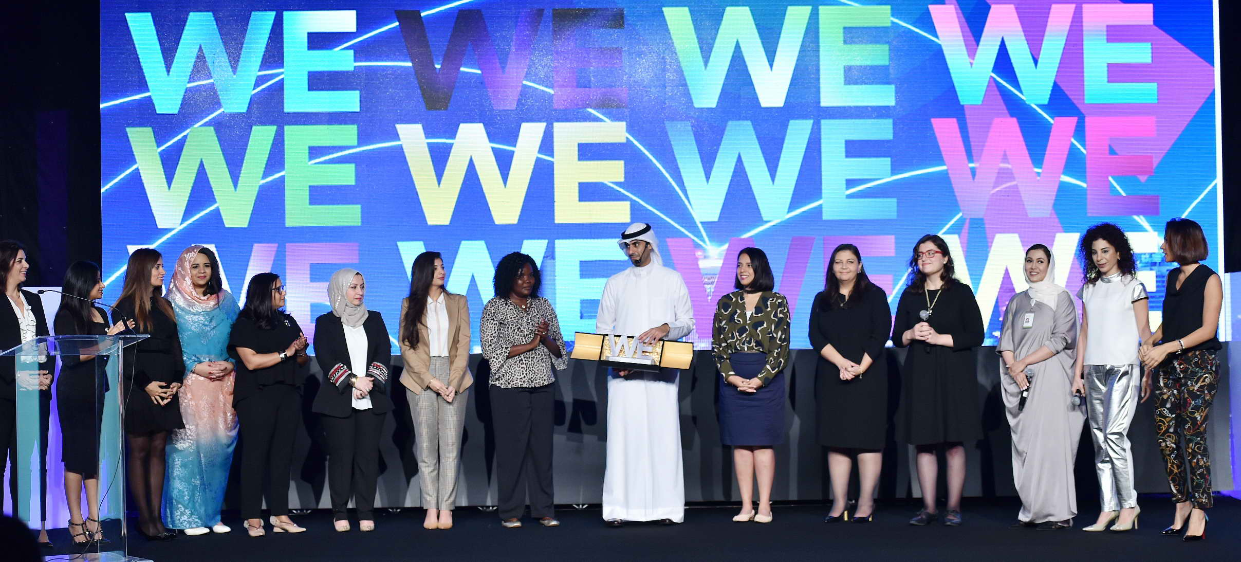 Bader Al Kharafi with women champions from Zain operations during recent conference in Kuwait.jpg